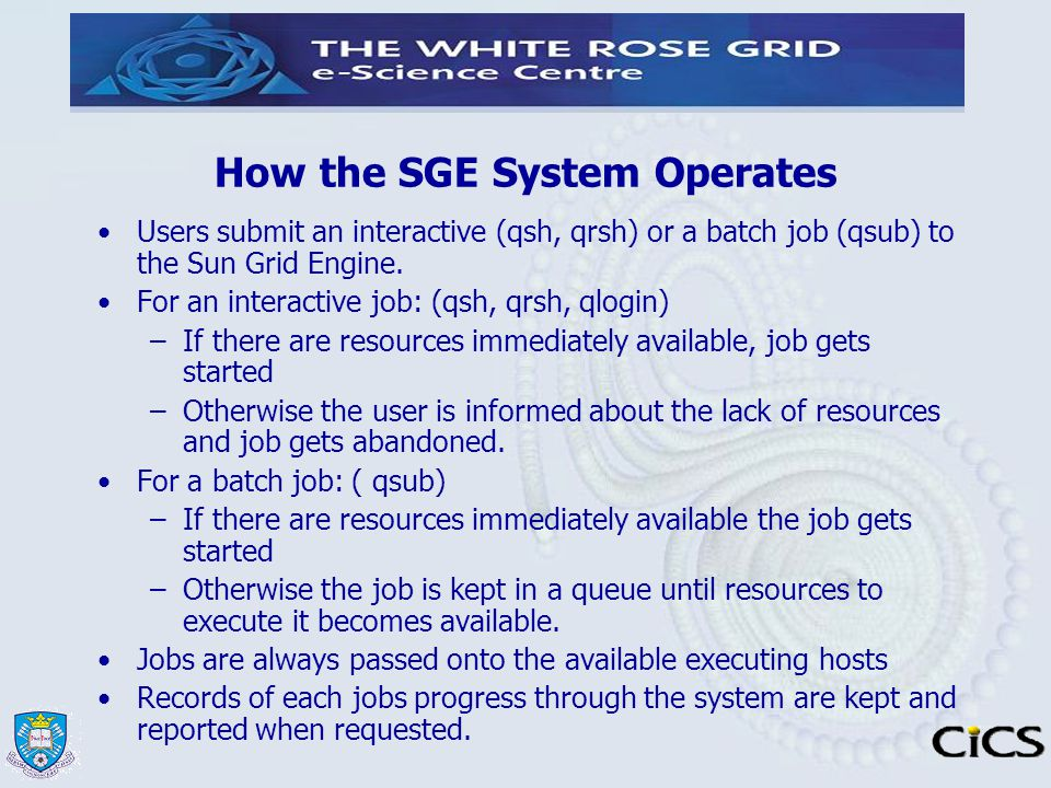 How the SGE System Operates