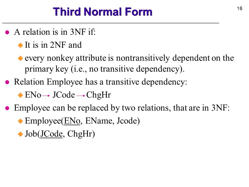 Third Normal Form A relation is in 3NF if: It is in 2NF and
