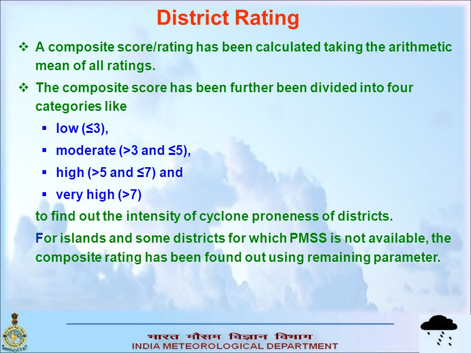 District Rating A composite score/rating has been calculated taking the arithmetic mean of all ratings.
