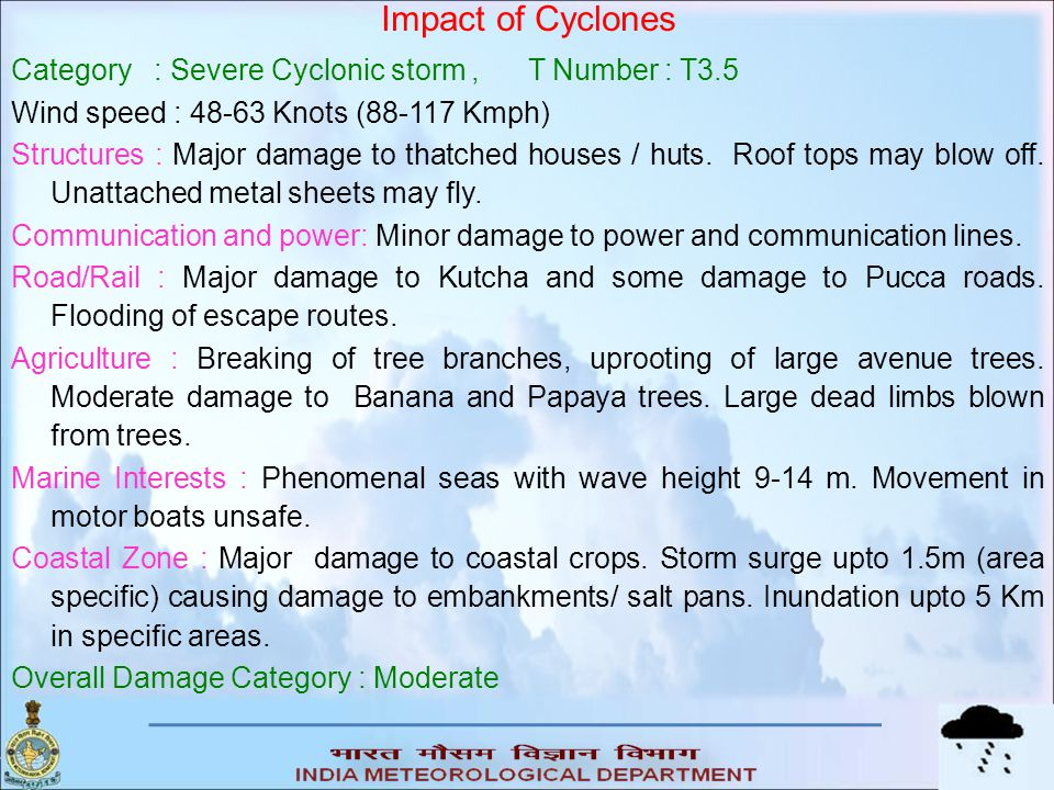 Impact of Cyclones Category : Severe Cyclonic storm , T Number : T3.5