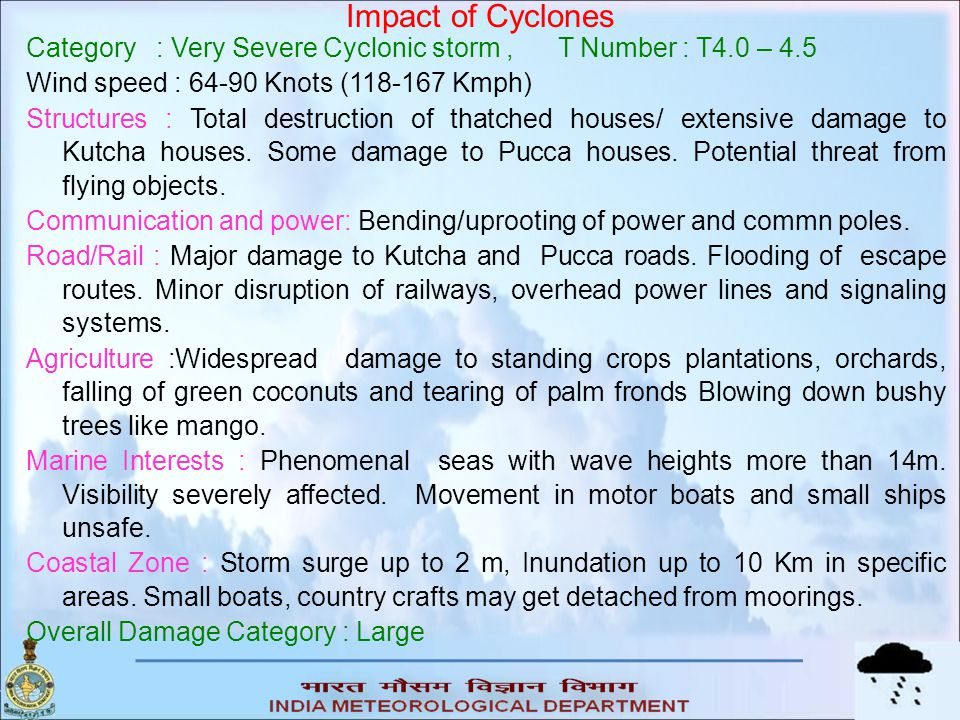 Impact of Cyclones Category : Very Severe Cyclonic storm , T Number : T4.0 – 4.5. Wind speed : 64-90 Knots (118-167 Kmph)