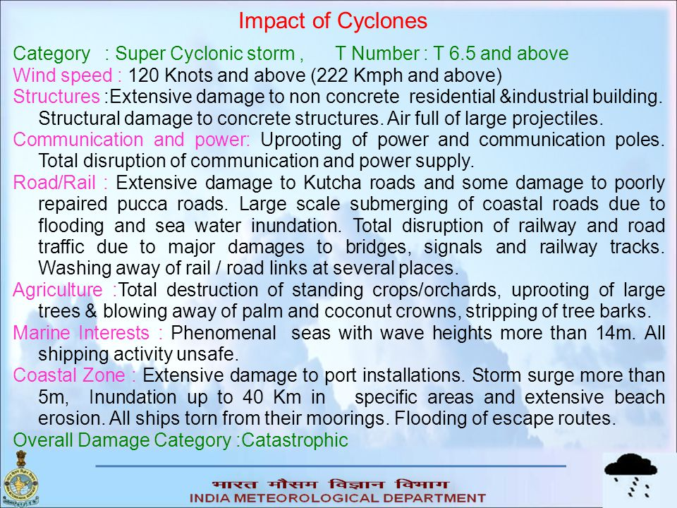 Impact of Cyclones Category : Super Cyclonic storm , T Number : T 6.5 and above. Wind speed : 120 Knots and above (222 Kmph and above)
