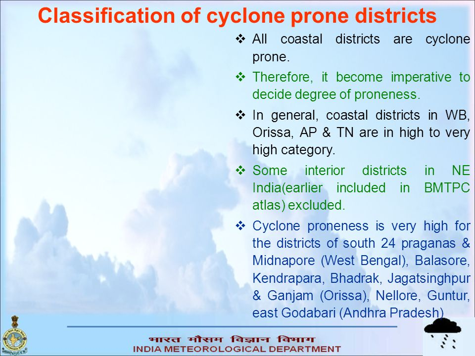 Classification of cyclone prone districts