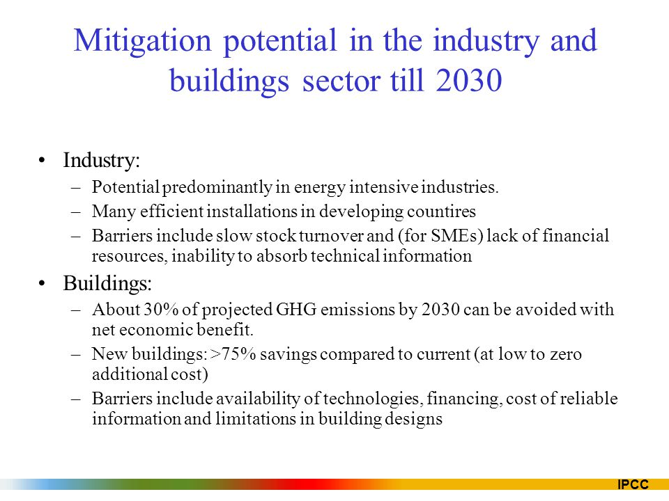 Mitigation potential in the industry and buildings sector till 2030