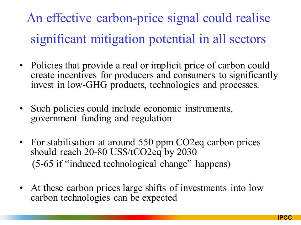 An effective carbon-price signal could realise significant mitigation potential in all sectors