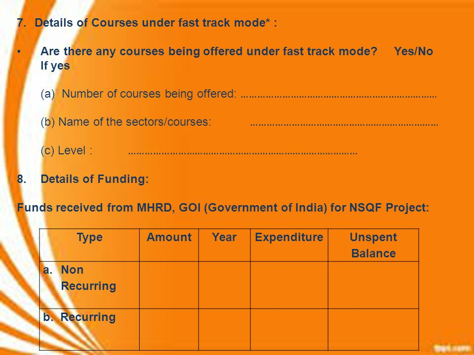 Details of Courses under fast track mode* :