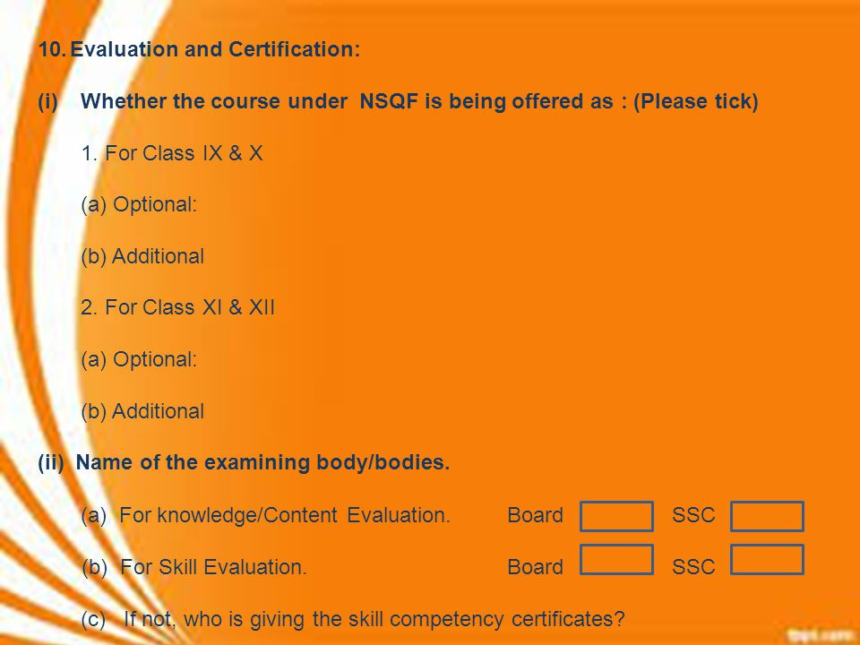 Evaluation and Certification: