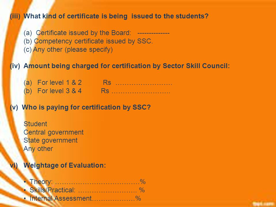 (iii) What kind of certificate is being issued to the students