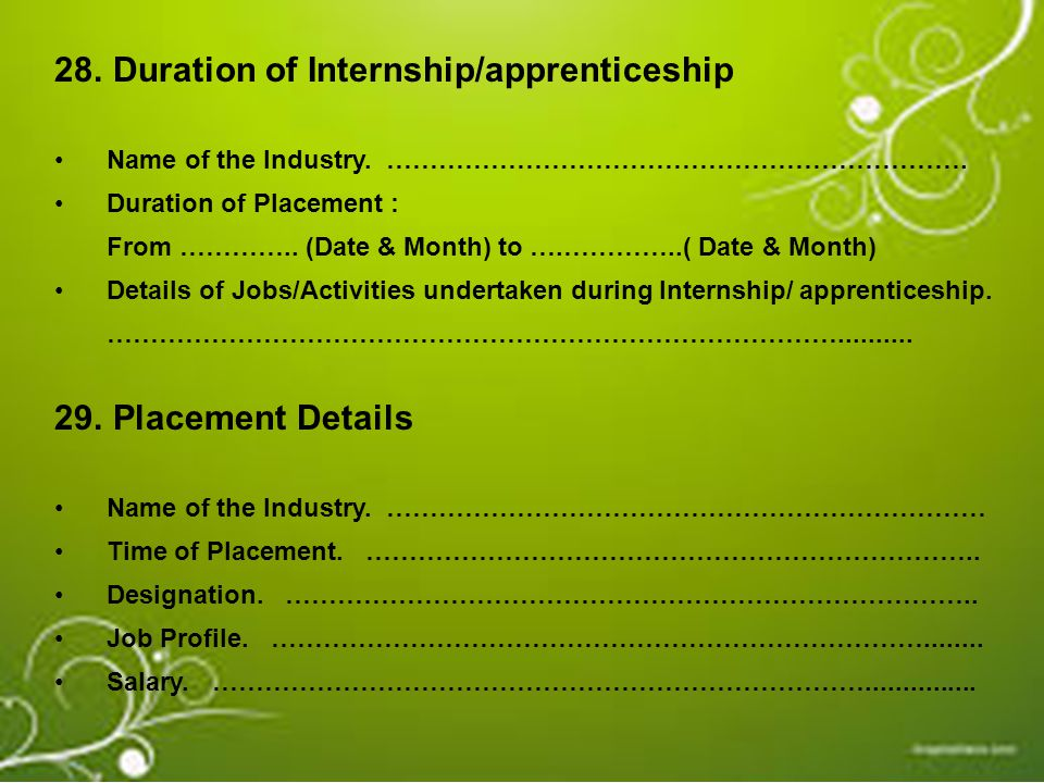 Duration of Internship/apprenticeship