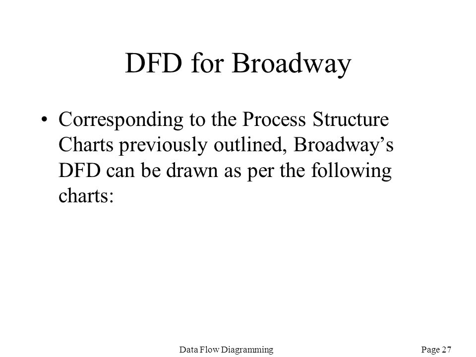 DFD for Broadway Corresponding to the Process Structure Charts previously outlined, Broadway's DFD can be drawn as per the following charts: