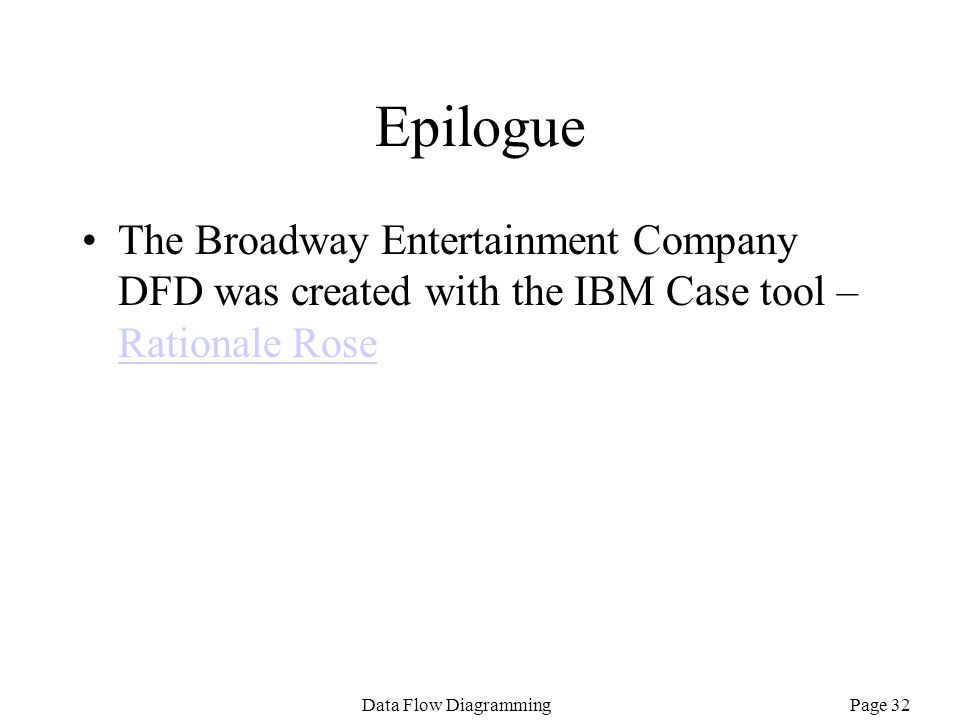 Epilogue The Broadway Entertainment Company DFD was created with the IBM Case tool – Rationale Rose