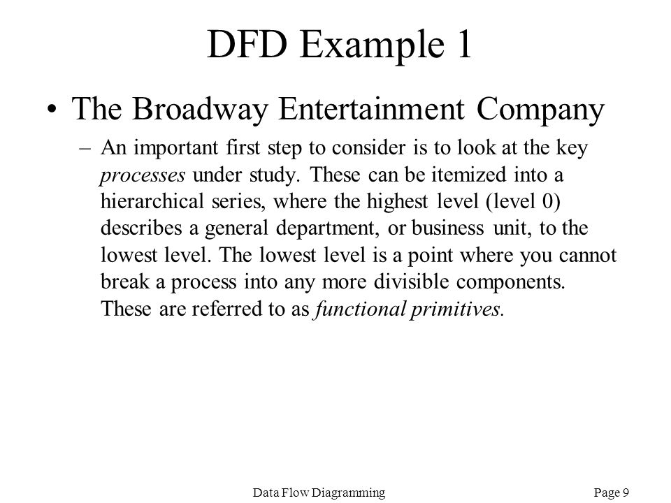 DFD Example 1 The Broadway Entertainment Company