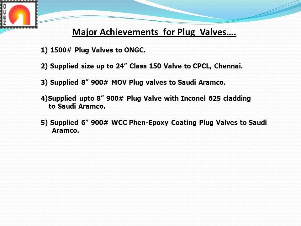 Major Achievements for Plug Valves….
