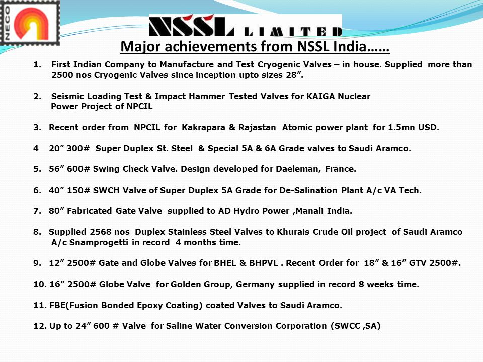 Major achievements from NSSL India……