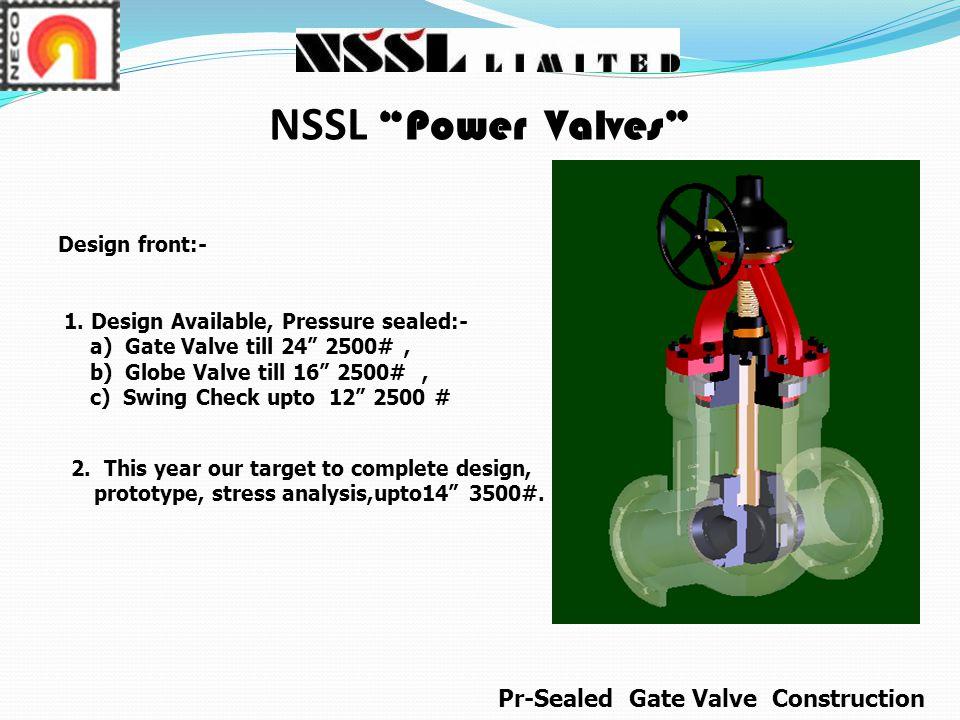 NSSL Power Valves Pr-Sealed Gate Valve Construction Design front:-