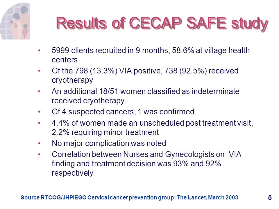 Results of CECAP SAFE study