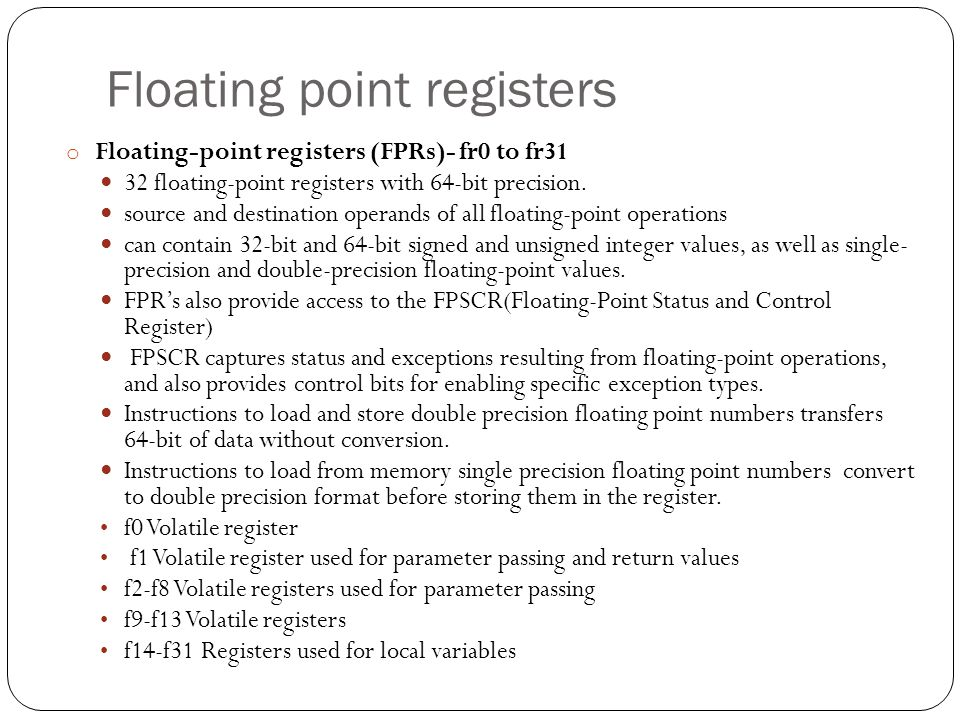 Floating point registers