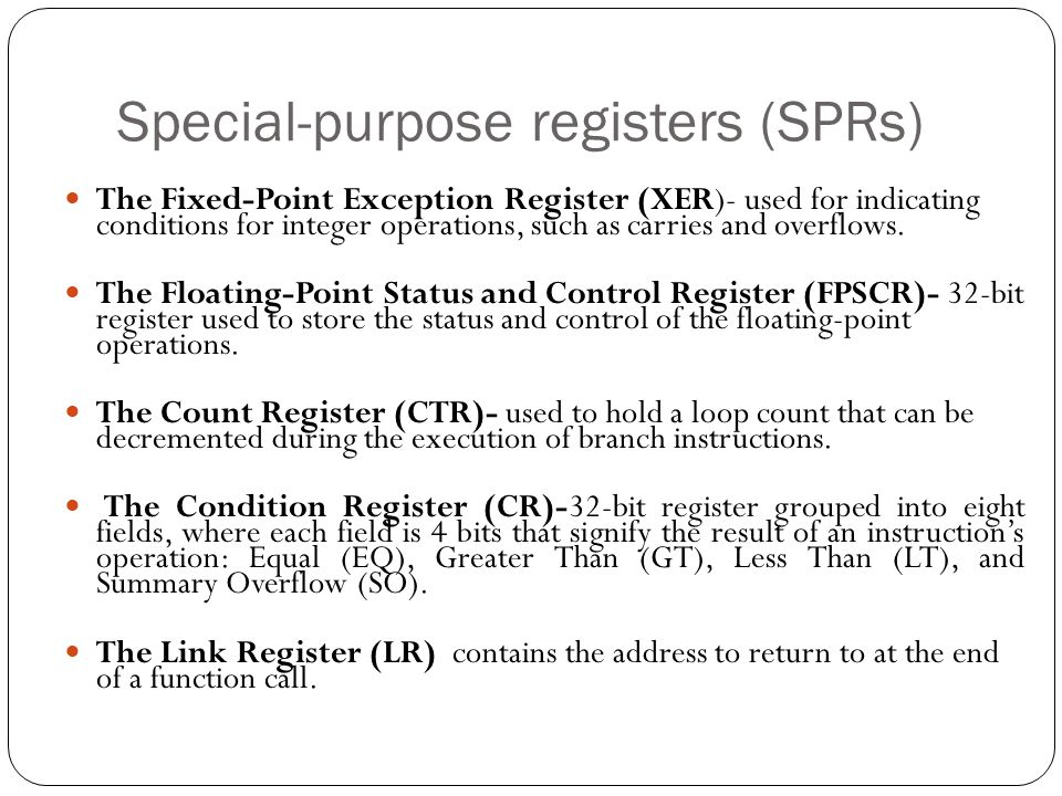 Special-purpose registers (SPRs)