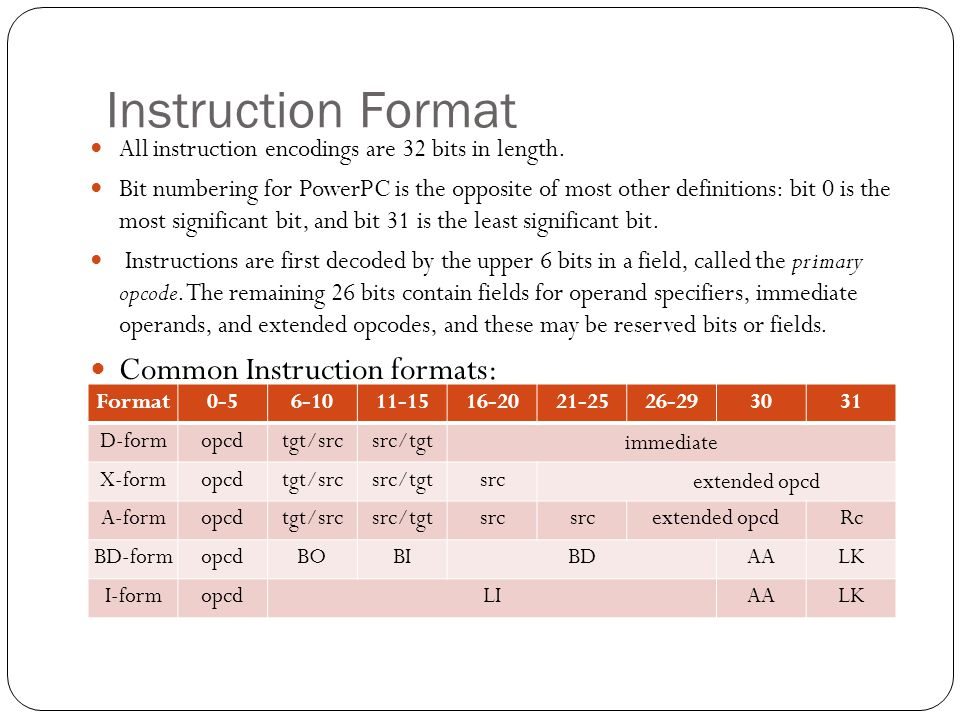Instruction Format Common Instruction formats: