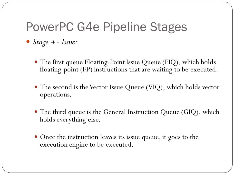 PowerPC G4e Pipeline Stages