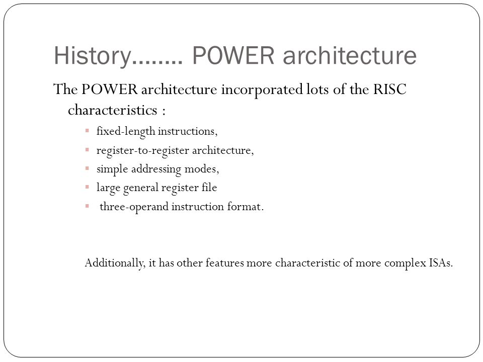 History…….. POWER architecture
