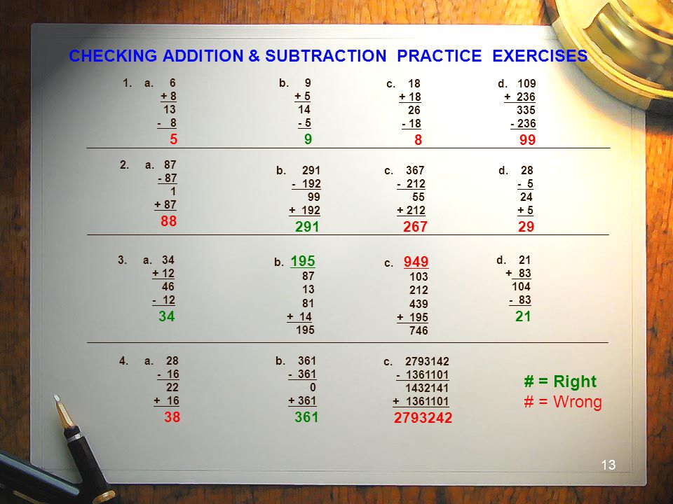 CHECKING ADDITION & SUBTRACTION PRACTICE EXERCISES