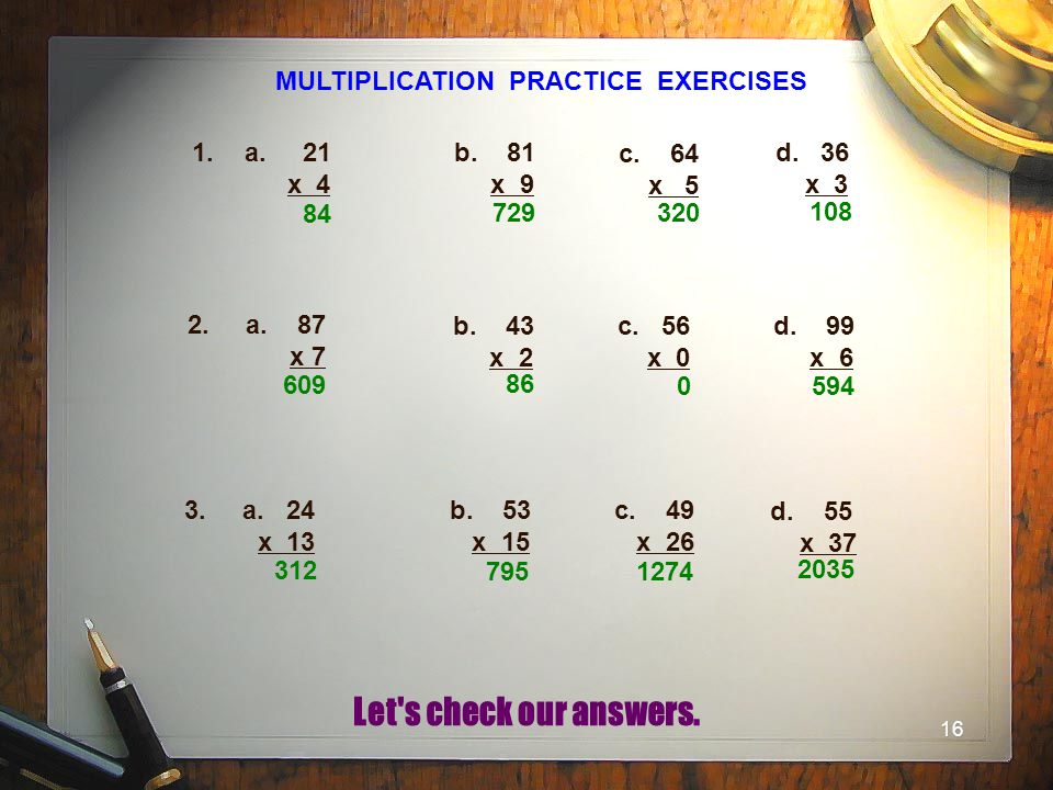 MULTIPLICATION PRACTICE EXERCISES