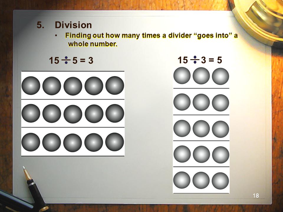 5. Division Finding out how many times a divider goes into a whole number.