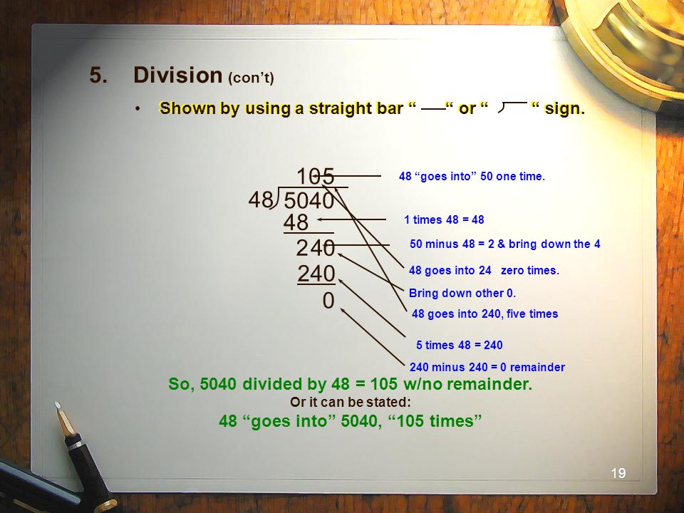 So, 5040 divided by 48 = 105 w/no remainder.