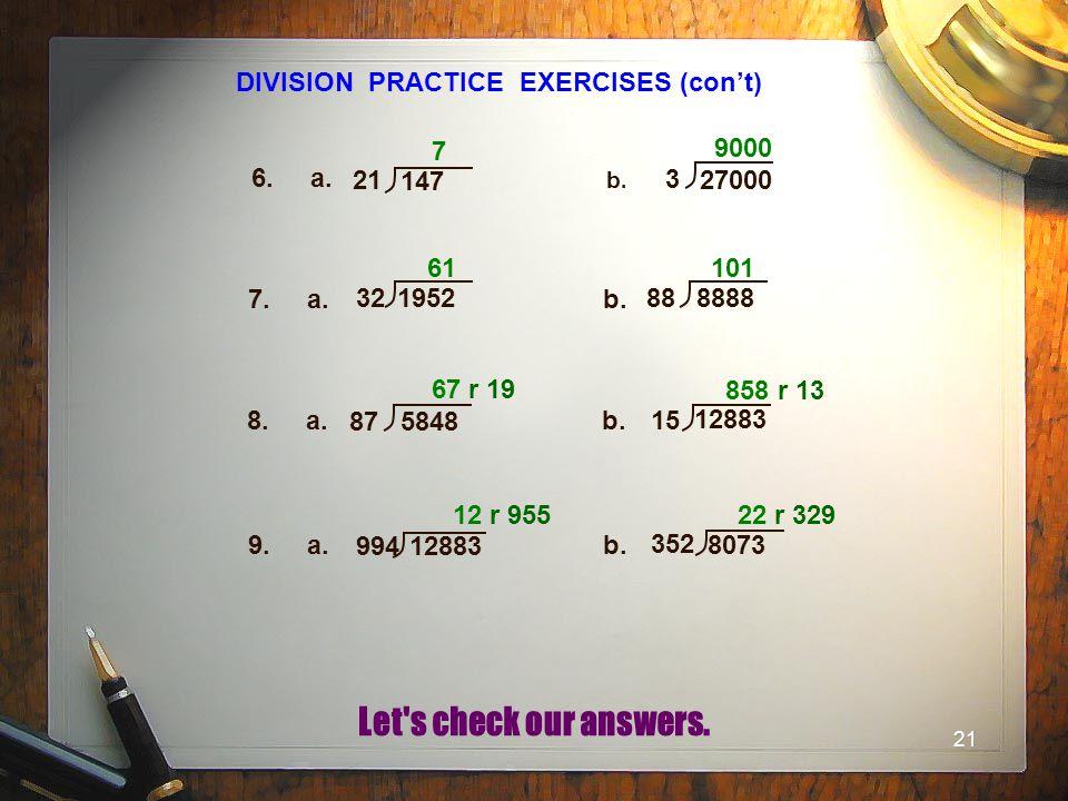 DIVISION PRACTICE EXERCISES (con't)