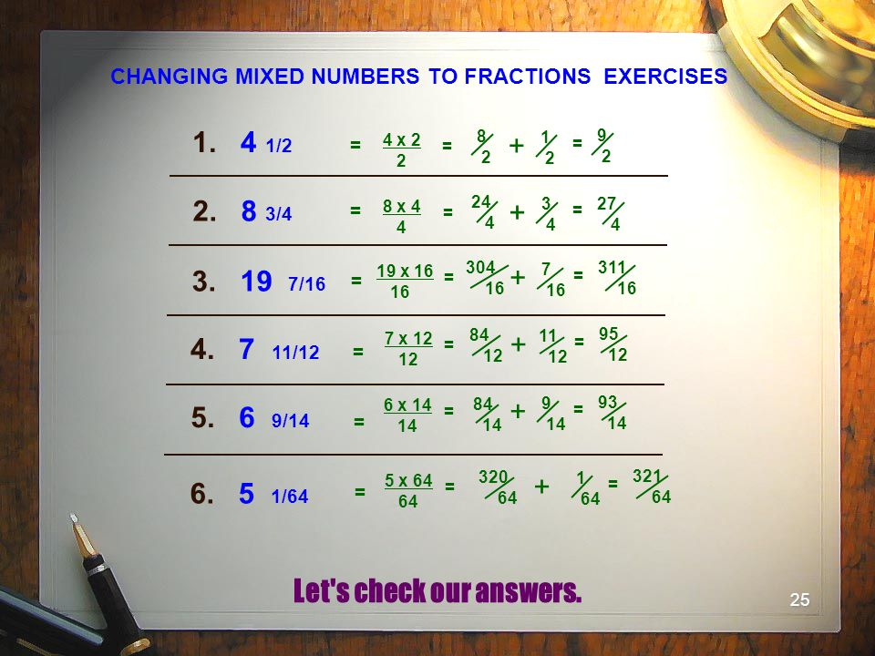 CHANGING MIXED NUMBERS TO FRACTIONS EXERCISES