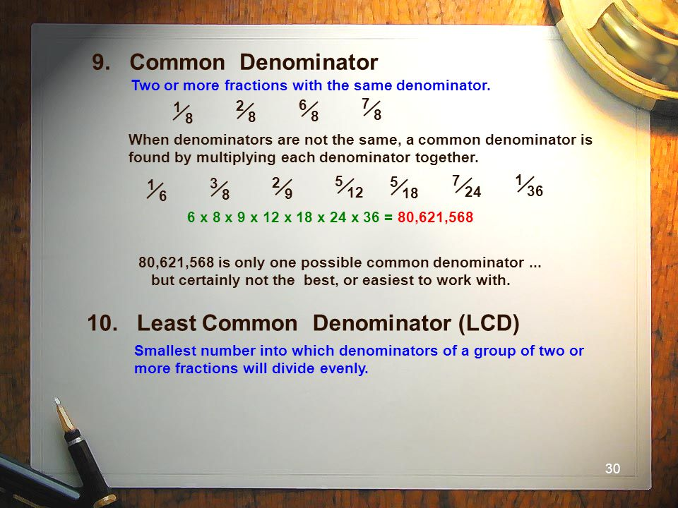 10. Least Common Denominator (LCD)