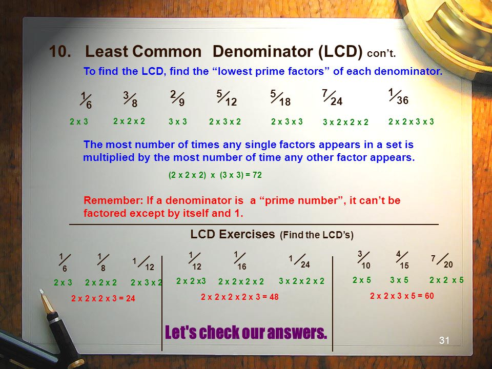 10. Least Common Denominator (LCD) con't.