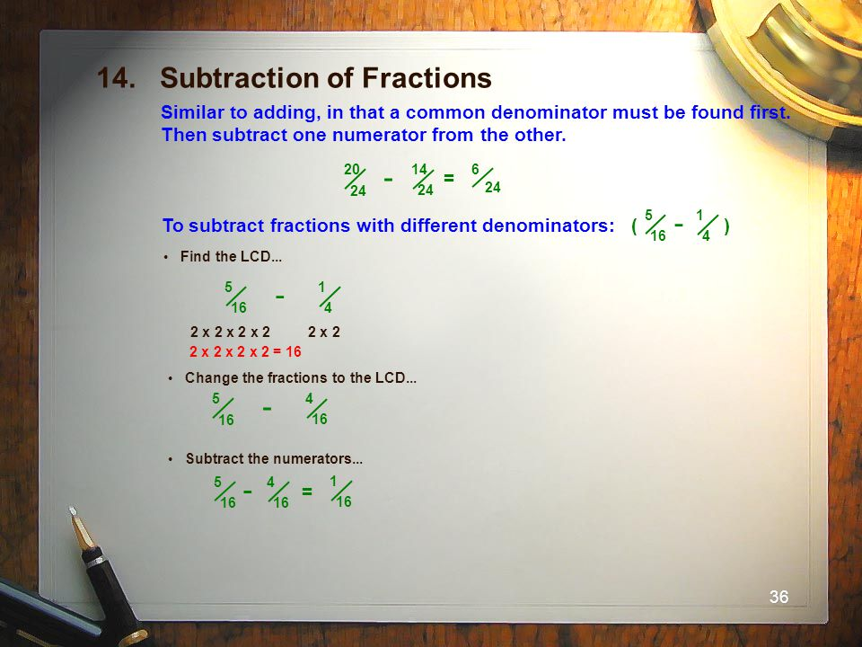 14. Subtraction of Fractions