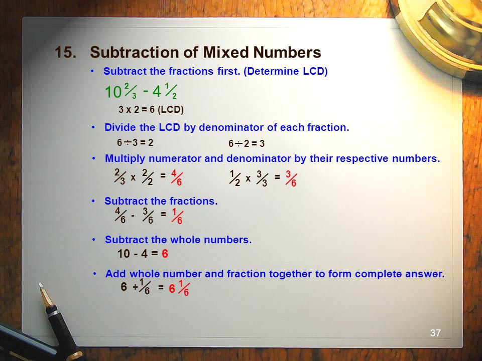 15. Subtraction of Mixed Numbers