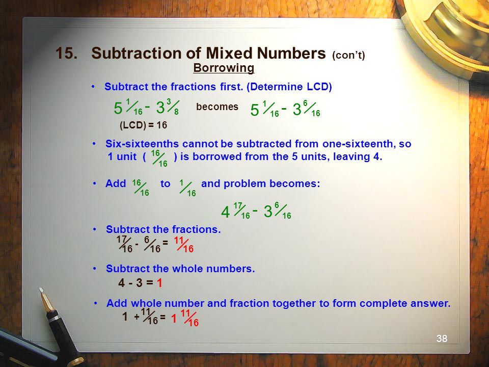 15. Subtraction of Mixed Numbers (con't)