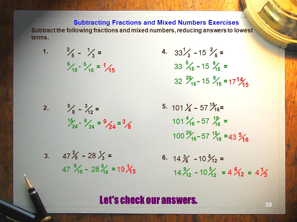 Subtracting Fractions and Mixed Numbers Exercises