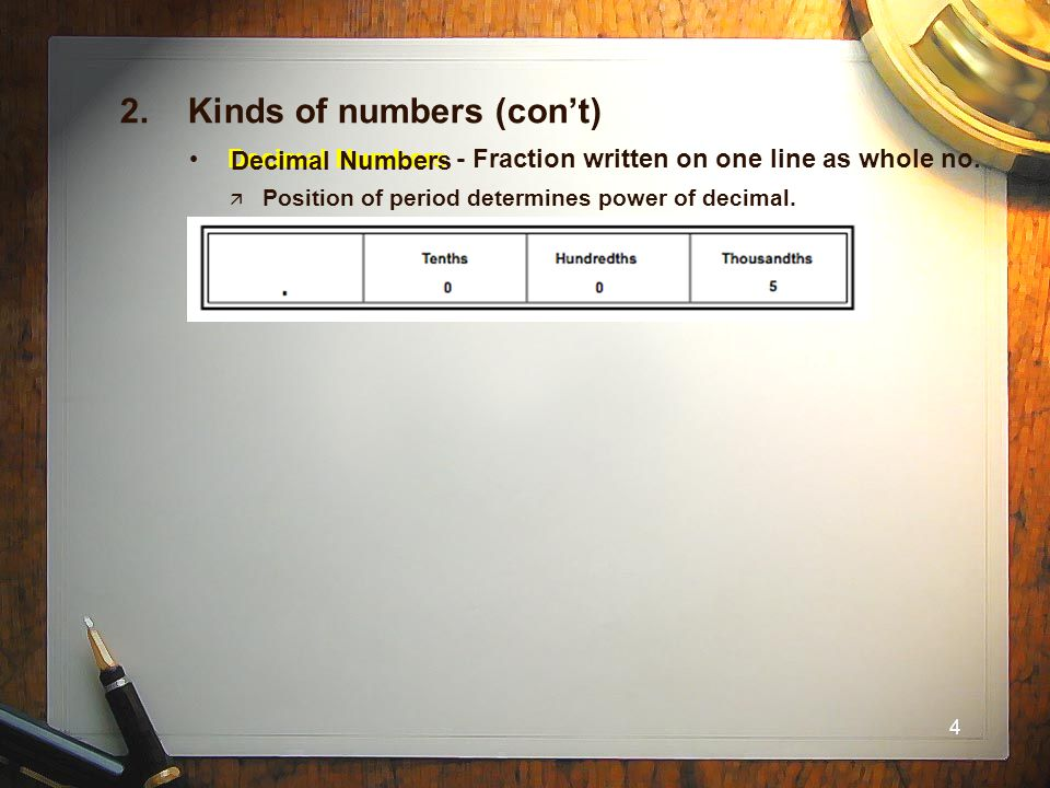 2. Kinds of numbers (con't)