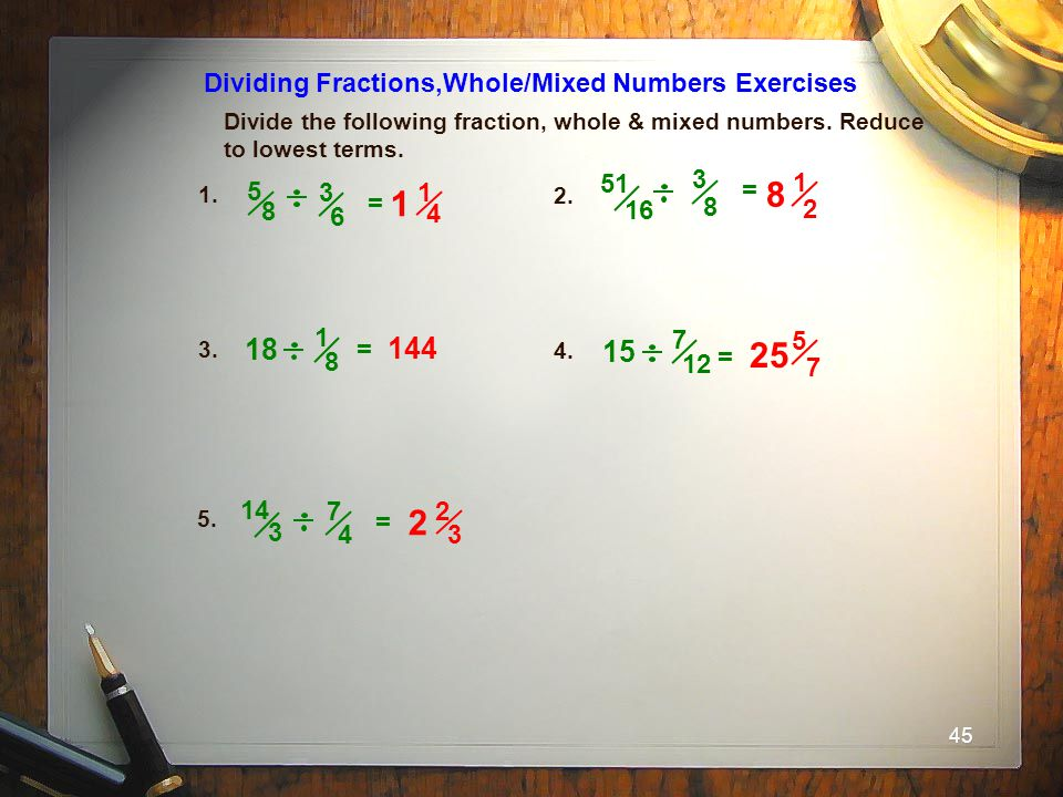 8 25 18 144 15 Dividing Fractions,Whole/Mixed Numbers Exercises 51 3 1