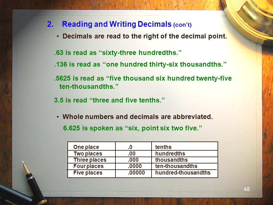 2. Reading and Writing Decimals (con't)