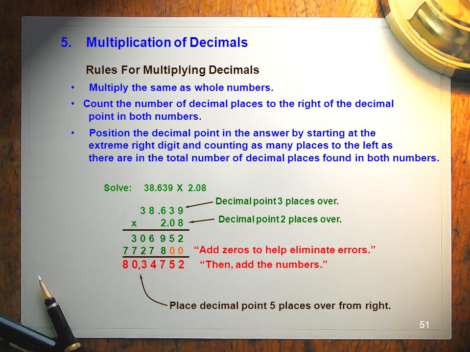 5. Multiplication of Decimals