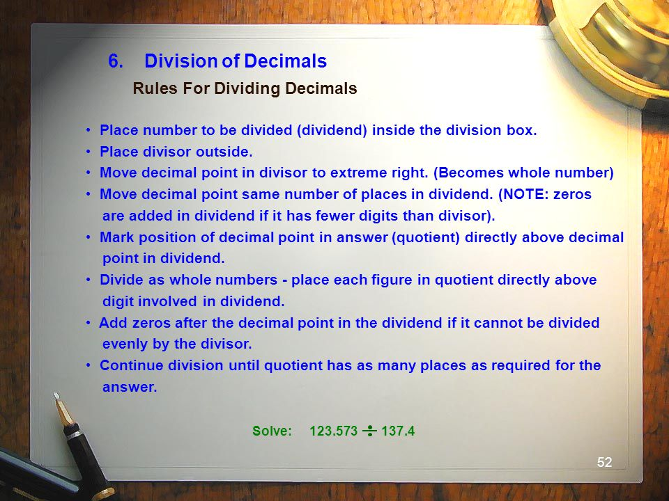 6. Division of Decimals Rules For Dividing Decimals