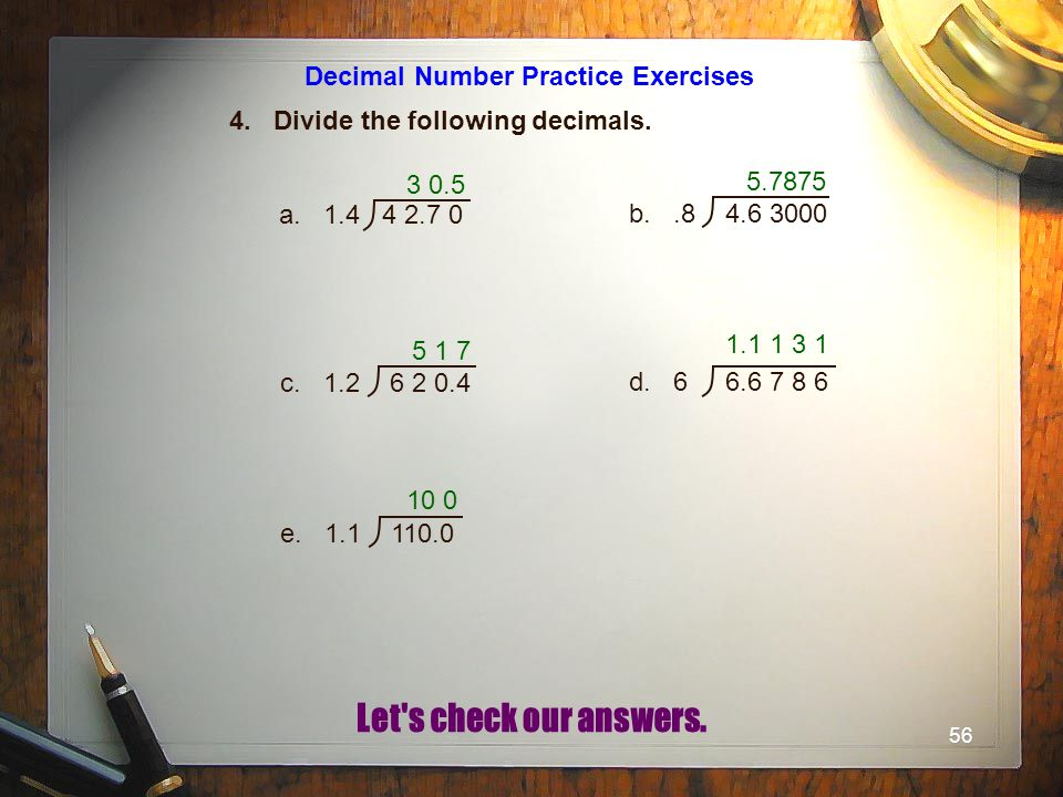 Decimal Number Practice Exercises