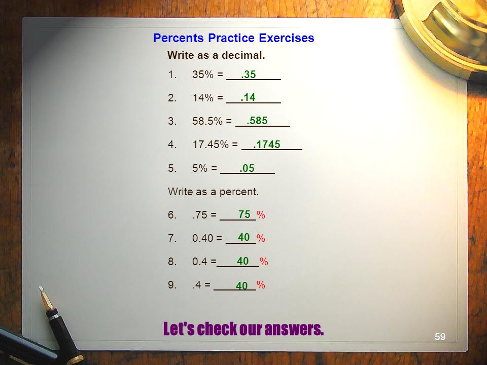 Percents Practice Exercises