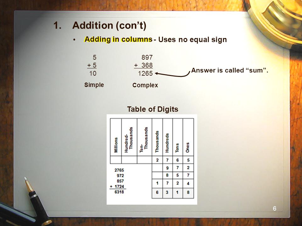 1. Addition (con't) Adding in columns - Uses no equal sign