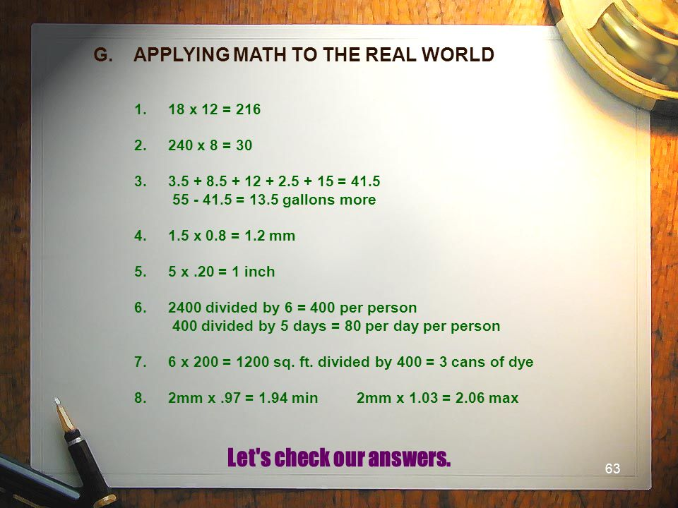 G. APPLYING MATH TO THE REAL WORLD
