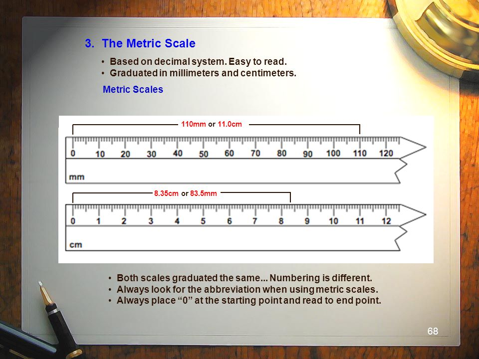3. The Metric Scale Based on decimal system. Easy to read.