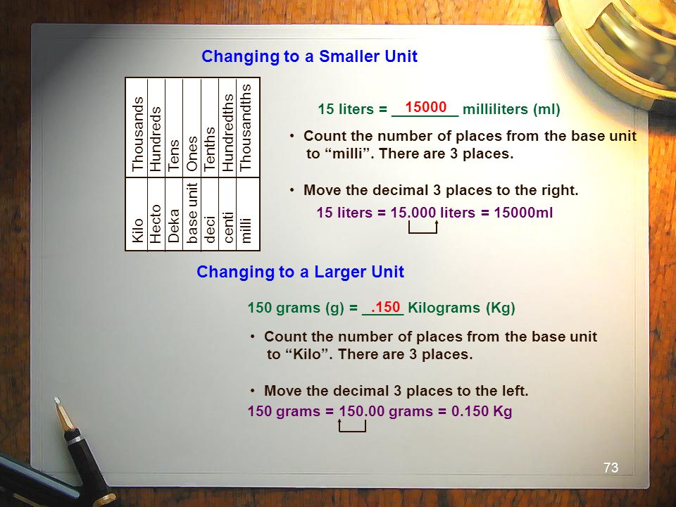 Changing to a Smaller Unit
