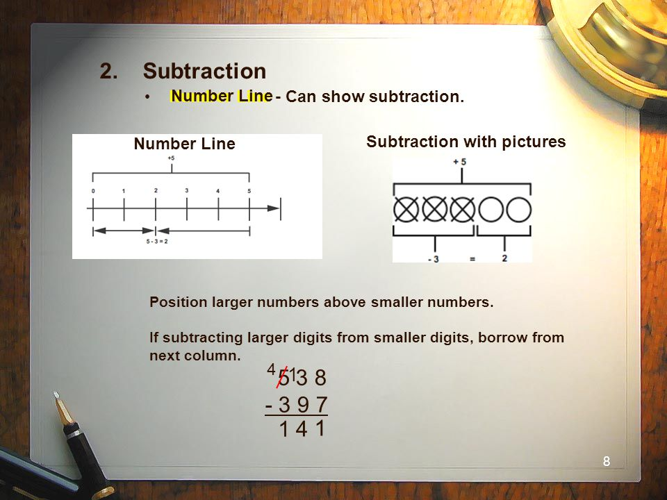 2. Subtraction Number Line - Can show subtraction. Number Line. Number Line. Subtraction with pictures.