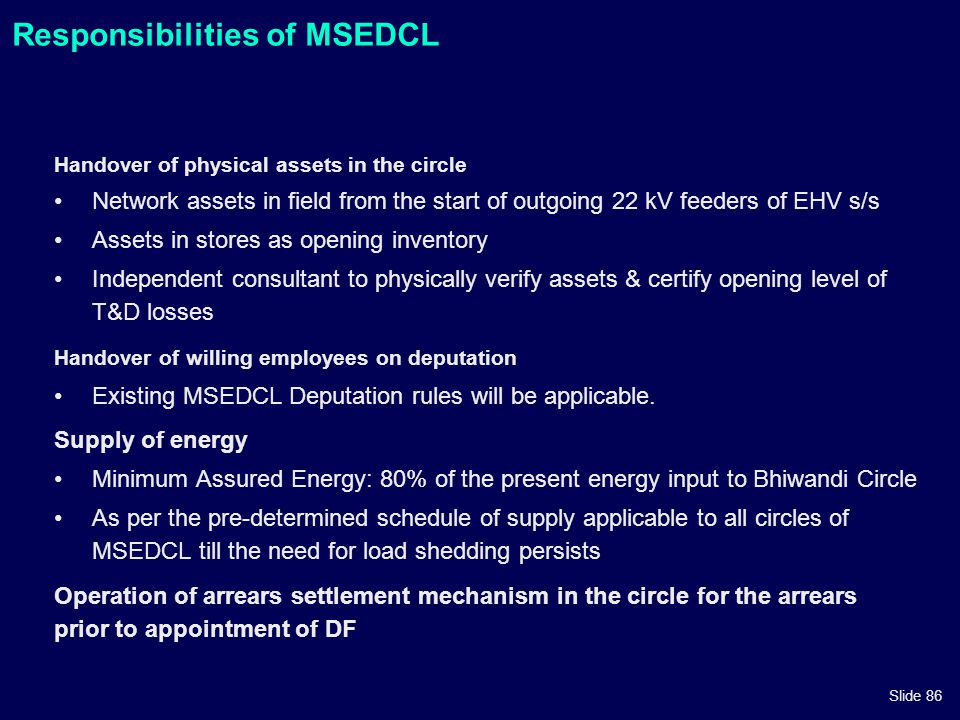 Responsibilities of MSEDCL